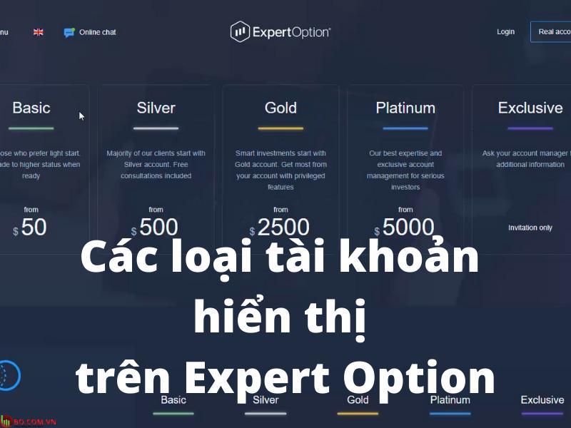Các loại tài khoản giao dịch trên nền tảng Expert Option