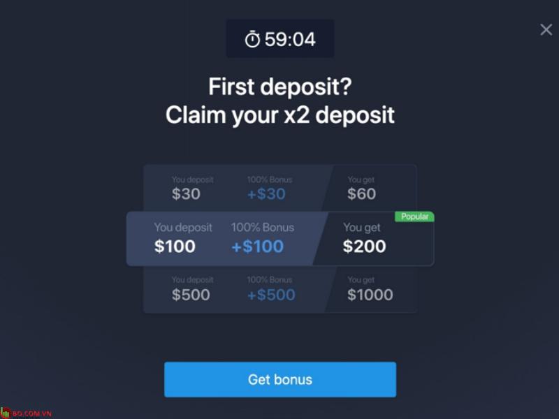 Tiền thưởng tại sàn Expert Option