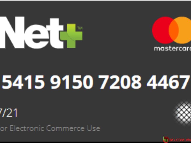 Thẻ Mastercard trả trước ảo Net +
