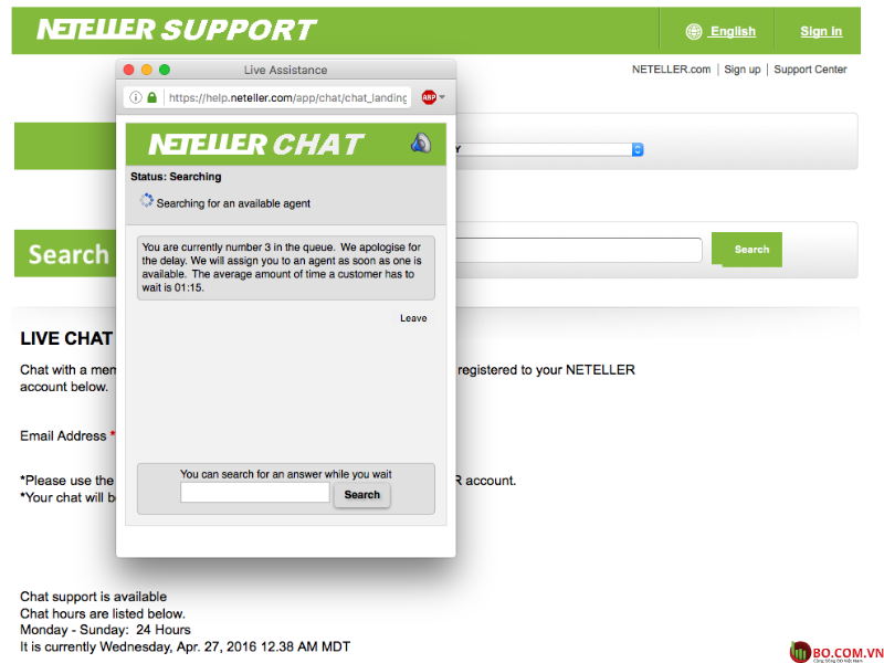 Live chat trên yttrang web Neteller