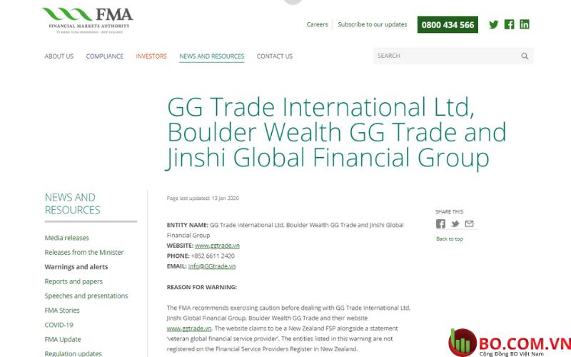 Cảnh báo của FMA về GGtrade