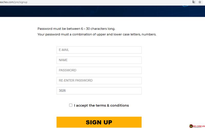 Giao diện đăng ký tài khoản tại sàn giao dịch Peachex