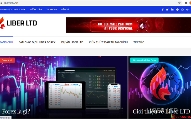 Giao diện trang chủ Liber Forex Việt Nam