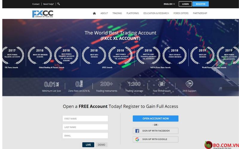 Đánh giá sàn FXCC cho người dùng mới