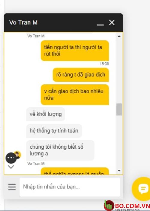 Đoạn chat của khách hàng với người hỗ trợ thuộc sàn Exness