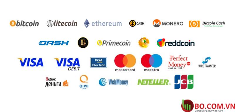 Nạp và rút tiền tại sàn Binarycent